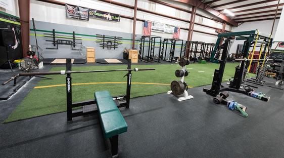 View of Weight Lifting Area at Port City Sports Performance in WIlmington